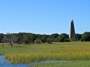 Old Baldy standing above the forest, marsh and tidal creeks.
